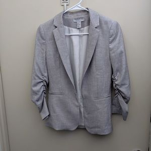 Gray Blazer With Front Clasp